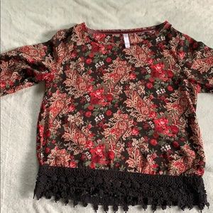 Paisley Red Blouse with Black Details
